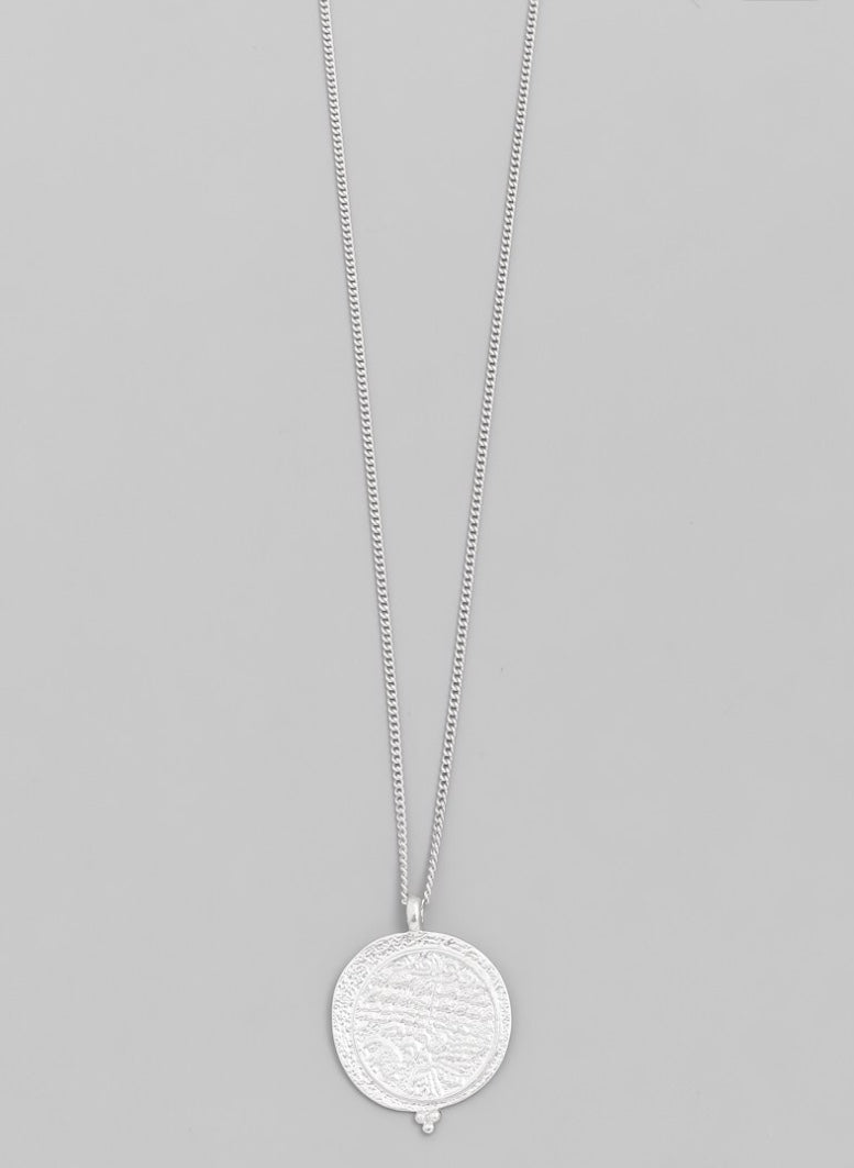 Silver Dainty Disc Coin Pendant Necklace