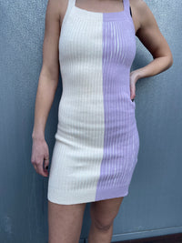 Ivory and Lavender Knit Mini Dress
