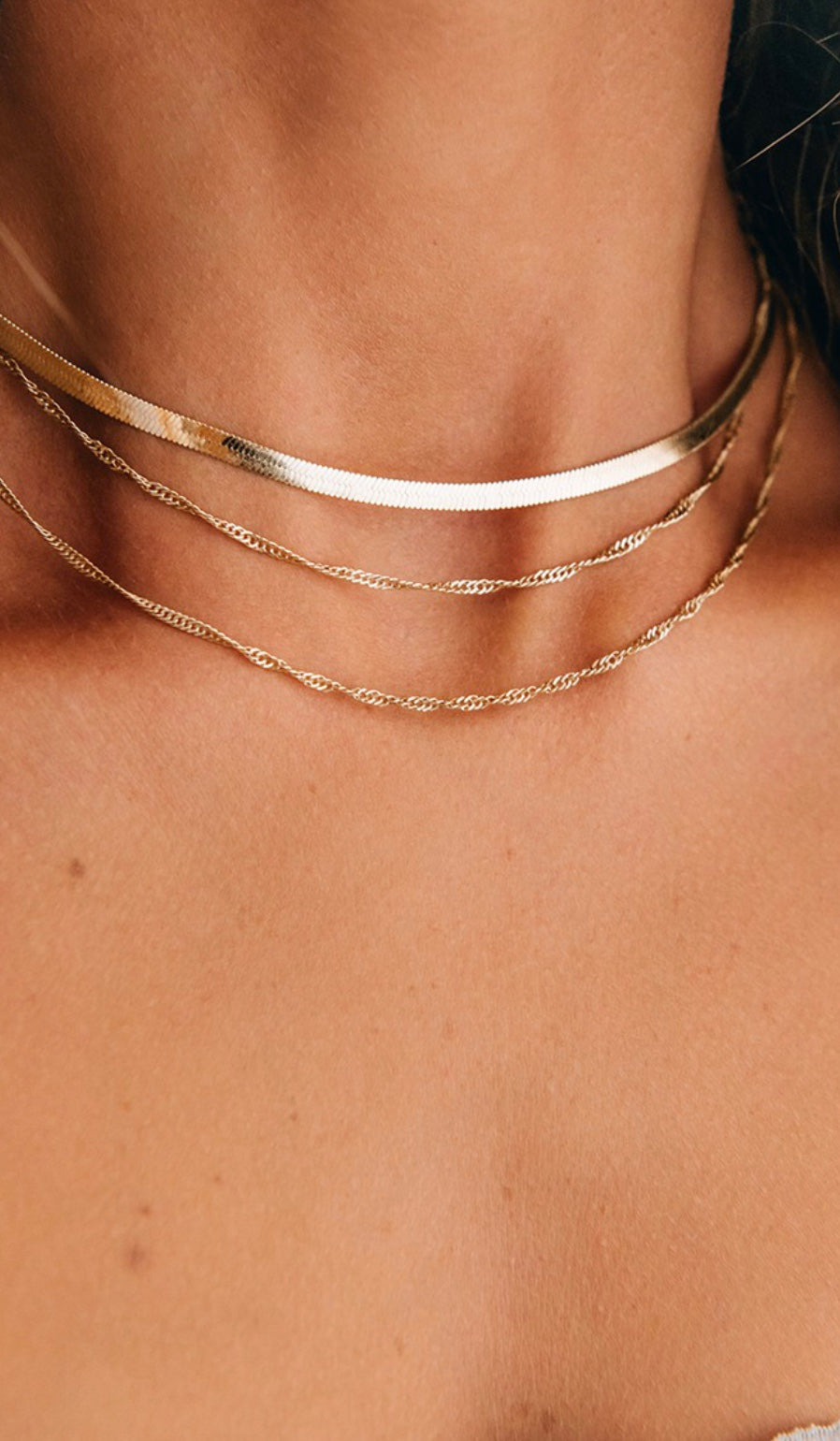 Gold Herringbone Layered Chain Necklace