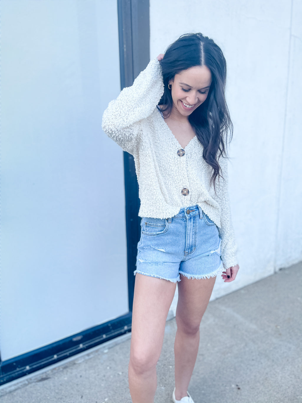 Ivory Textured Button Front Cardigan