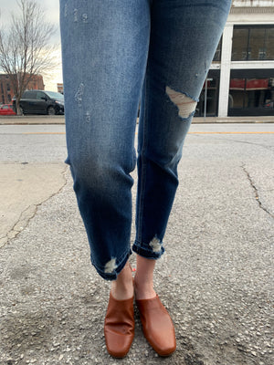 High Rise Distressed Hem Ankle Straight