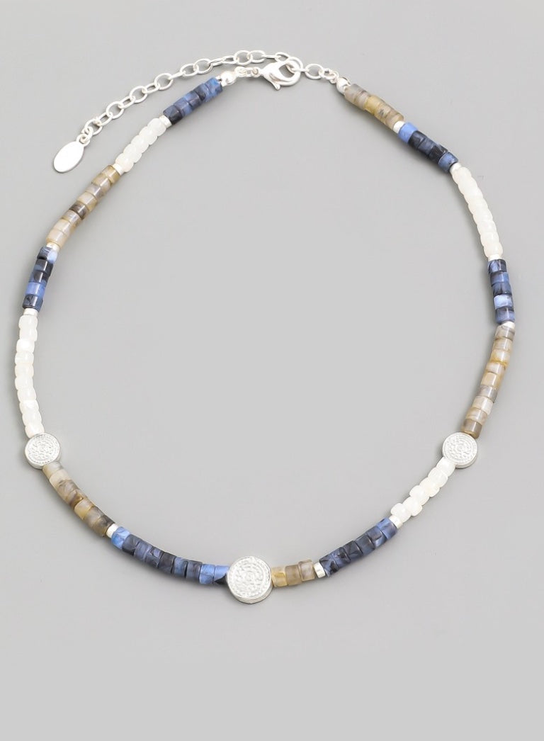 Beaded Coin Choker Necklace - Blue