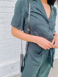 Polka Dot Print Jumpsuit - Teal