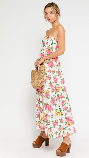 Frances Floral Strapless Maxi Dress