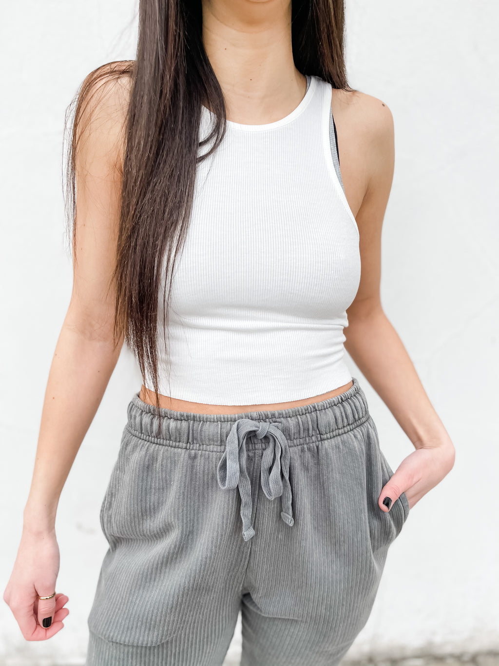 High Neck Ribbed Crop Top - White