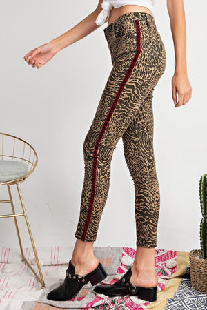 Animal Print Pants with Suede Side Detail