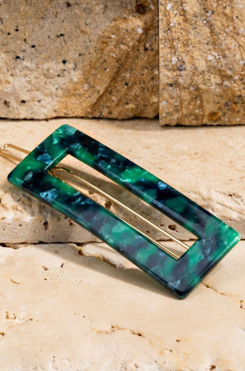 Open rectangle Hair Clip - Green