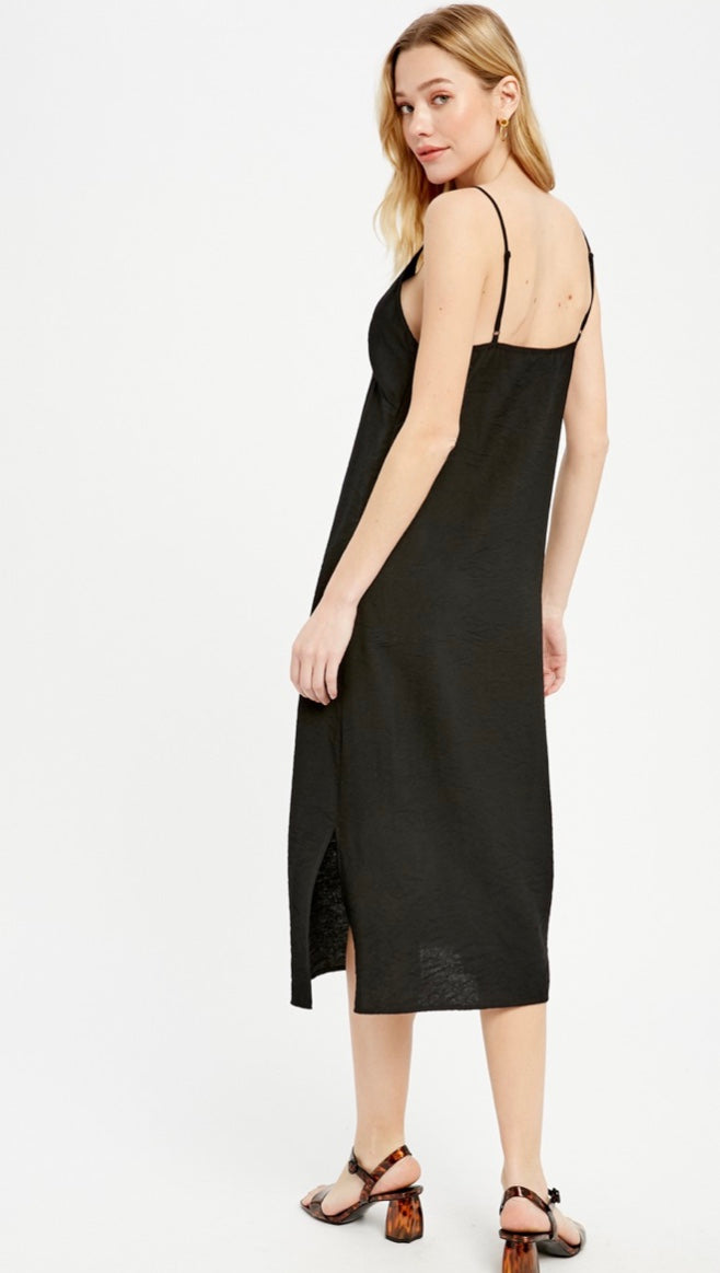 The Georgette Strappy Midi Dress - Black