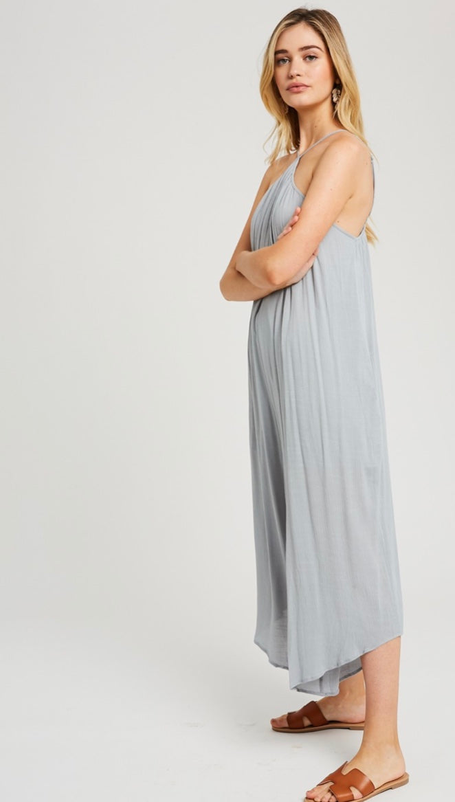 The Adele Halter Neck Style Jumpsuit in Cloud