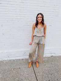 Satin Striped Spaghetti Strap Jumpsuit