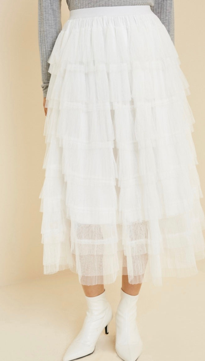 Tiered Tulle Midi Skirt - Off White