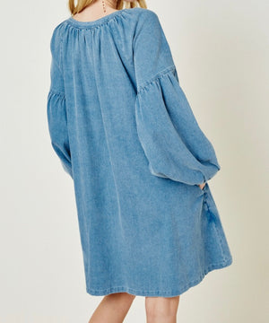 Tassel Chambray Dress