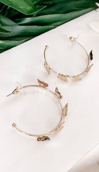 Gold Hoop Butterfly Earrings