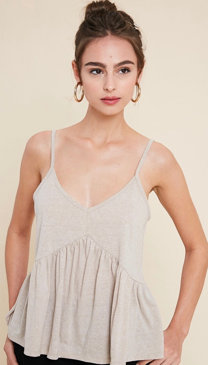 Marled Knit Ruffled Tank Top