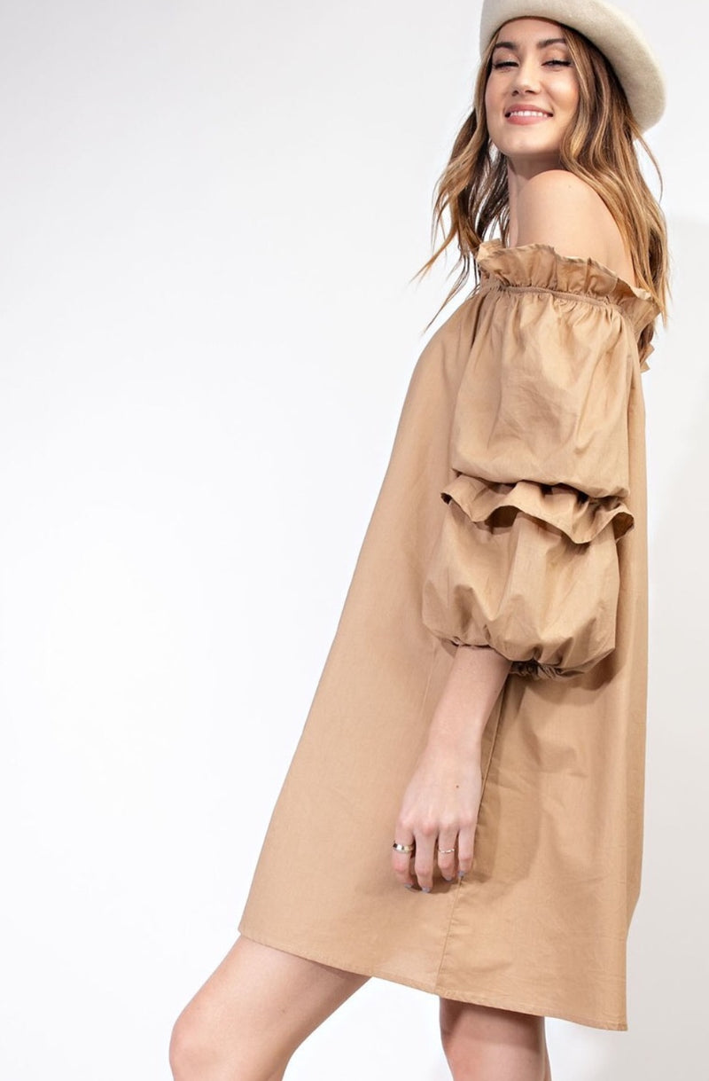 Tiered Bubble Sleeve Off the Shoulder Dress in Tan
