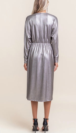 Knot Front Midi Dress - Silver