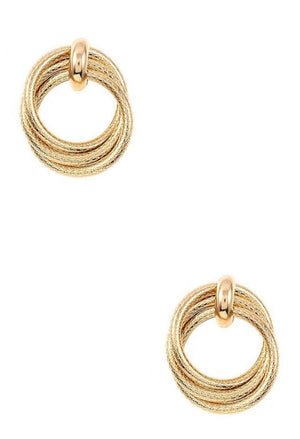 Textured Circle Link Post Earrings - Gold