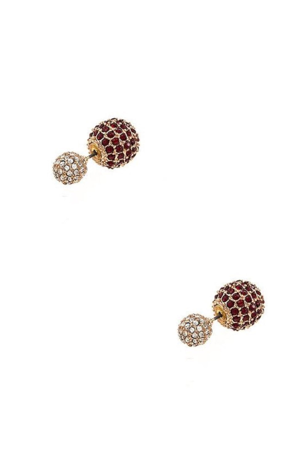 Double Sides Post Earrings - Red Clear