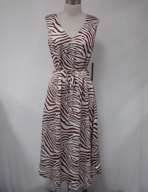 The Florence Animal Print Maxi Dress Rust and Ivory