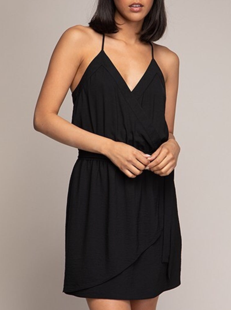 The Ally Banded Surplice Dress In Black