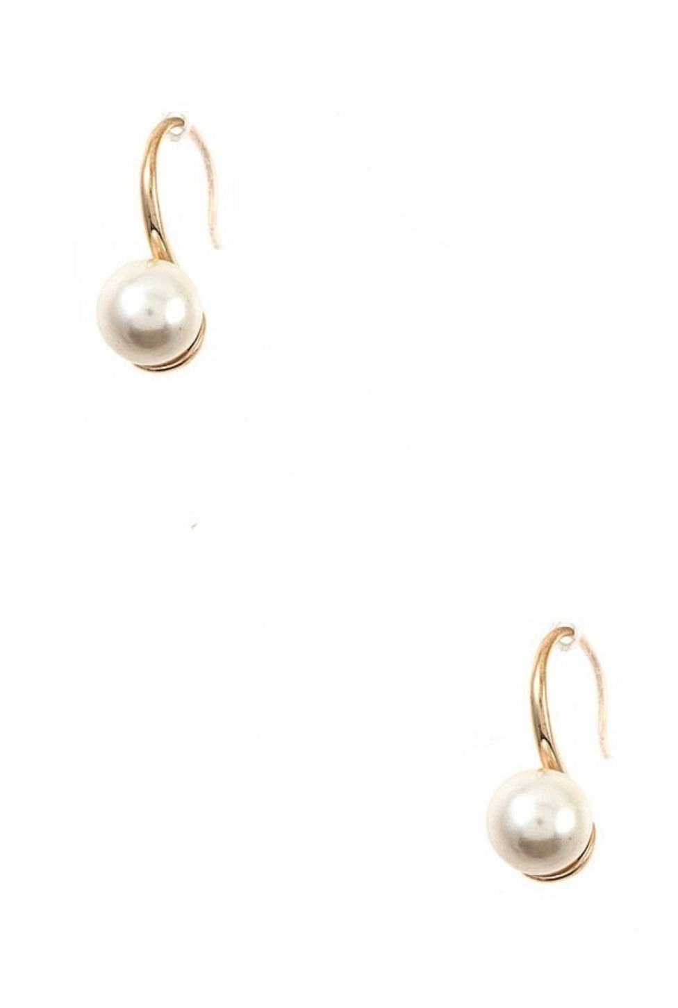 Drop Orb Earrings - Gold and Pearl
