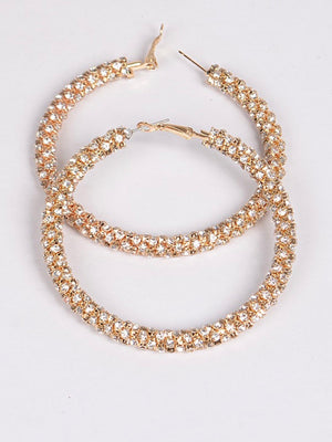 Filled Rhinestone Large Hoops - Gold