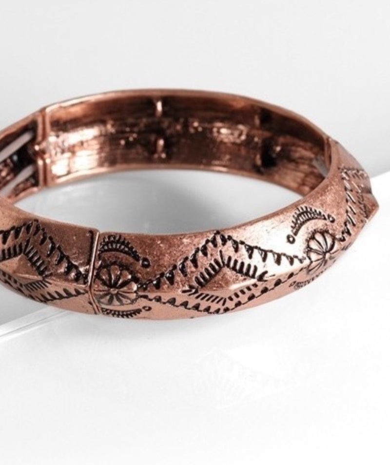 Vintage tribal carving bangle bracelet Bronze