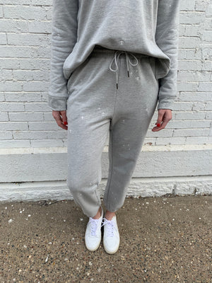 Heather Grey Embroidered Joggers