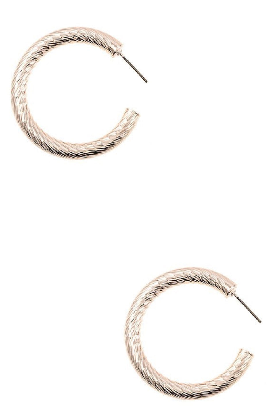 Etched Line Thick Hoop Earrings - Rose Gold