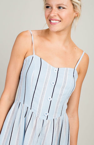 The Aida Striped Midi Dress in Blue