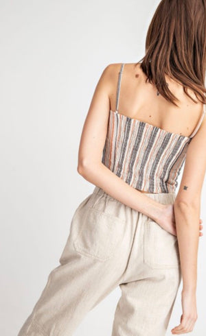 The Nadia Striped Cropped Cami - Ash and Coral