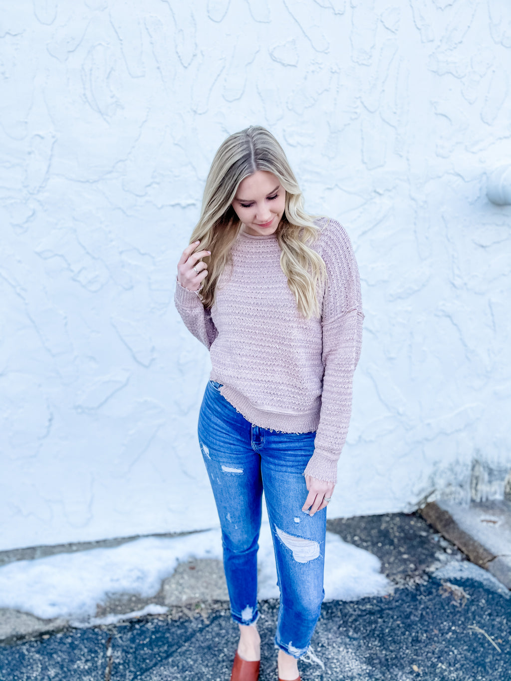 Rose Textured Knit Sweater