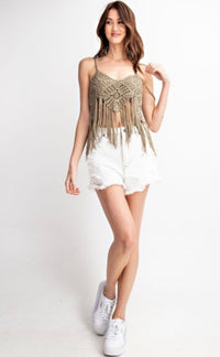 The Callie Crochet Crop Cami in Faded Olive