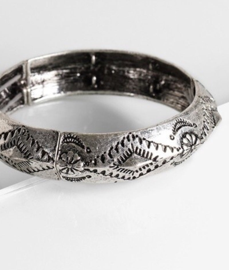 Vintage Tribal Carving Bangle Bracelet Silver