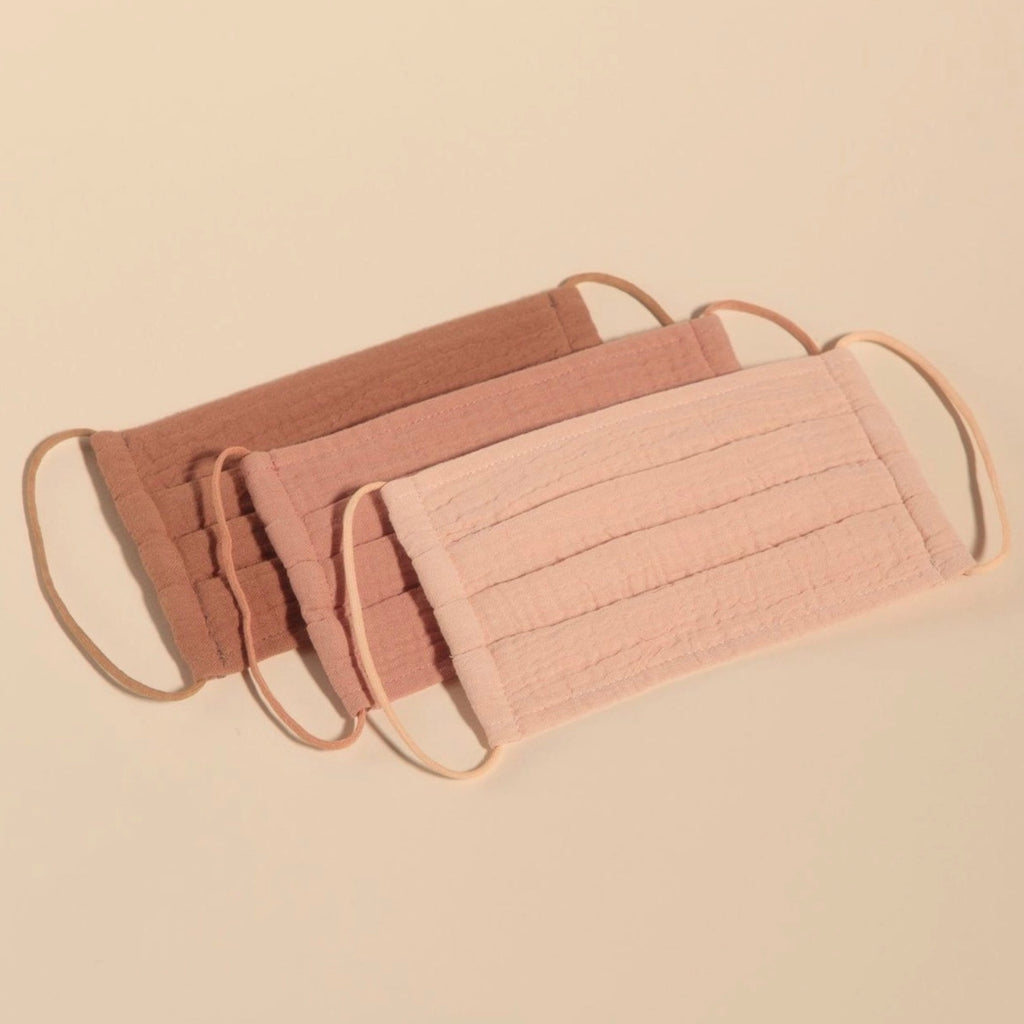 Cotton 3-Piece Face Masks - Dusty Rose