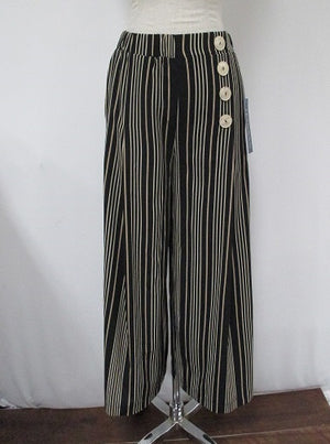 High Waisted Black and Cream Striped Fashion Pants