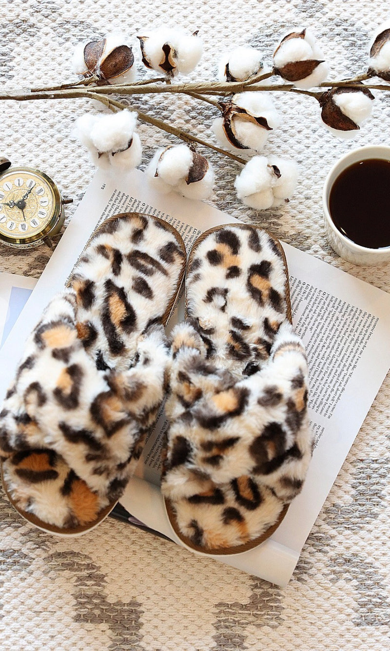 Fuzzy Faux Fur Leopard Slippers
