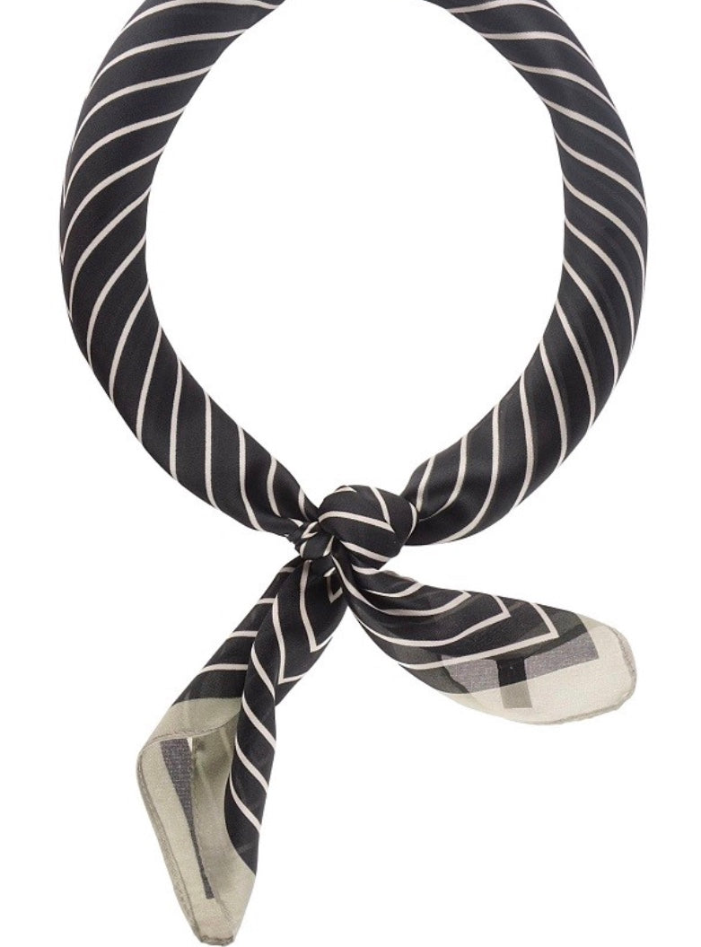 Striped Patterned Neckerchief - Black and Cream