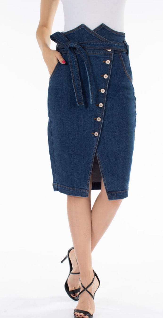 Kan Can Denim Midi Skirt with Waistband Detail