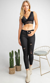 Plunging Neck Lace Bralette - Black