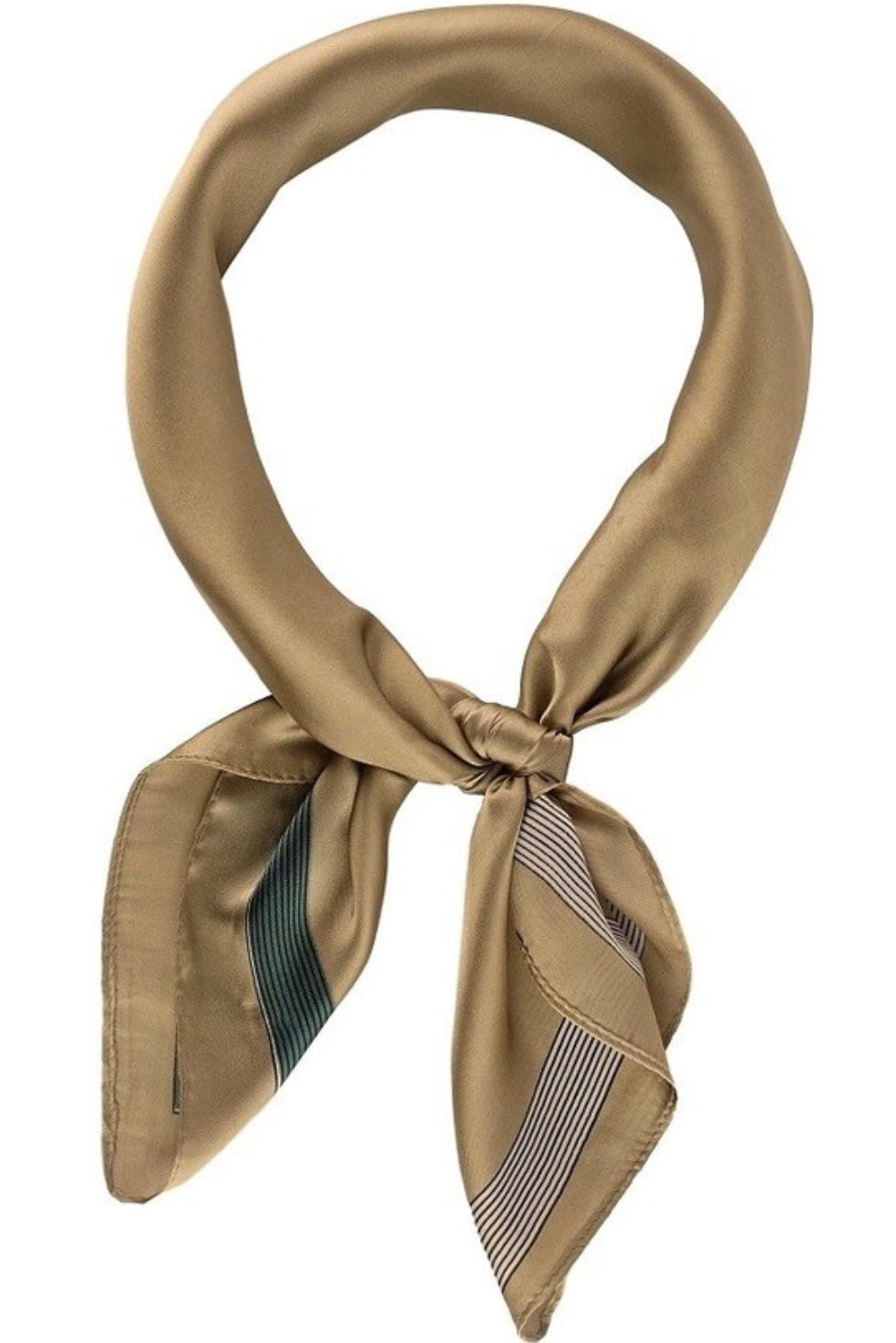 Solid Neckerchief with Lined Edge Detail Camel
