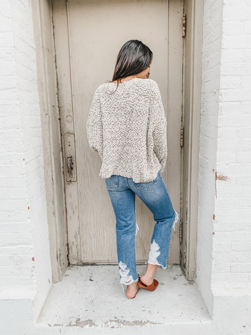 Popcorn Cropped Relaxed Style Sweater