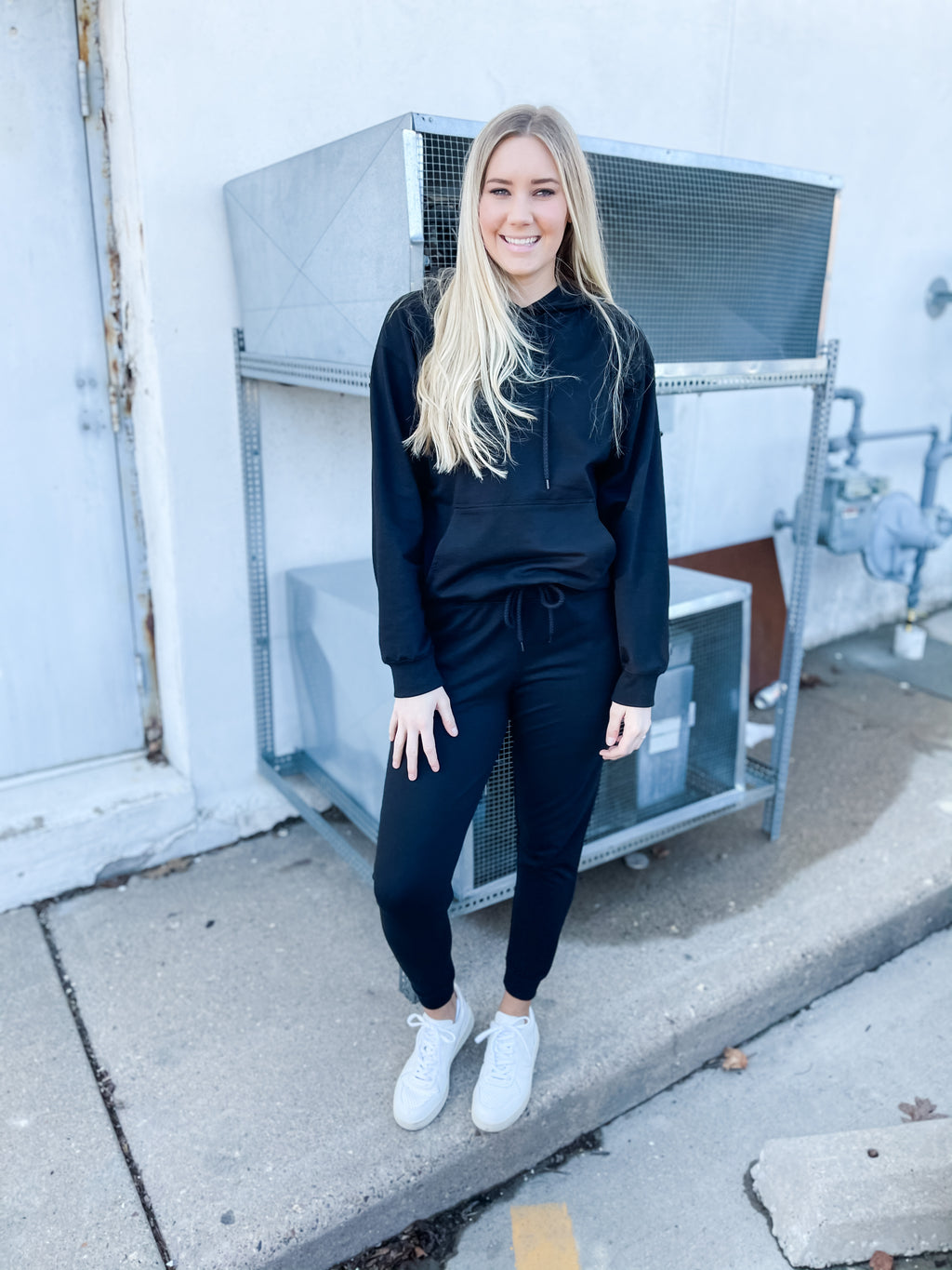 Black Hoodie and Jogger Set - Top