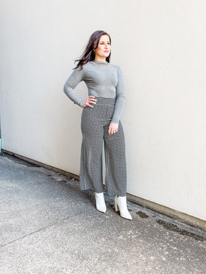 High Waisted Houndstooth Wide Ankle Pants