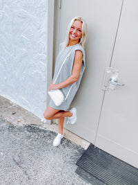 Shoulder Pad Sleeveless Cotton Dress