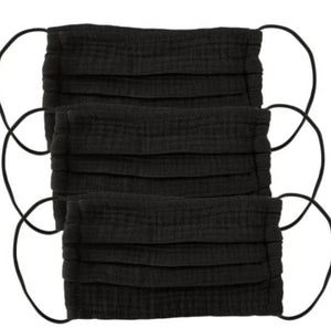 Cotton 3-Piece Face Masks - Black