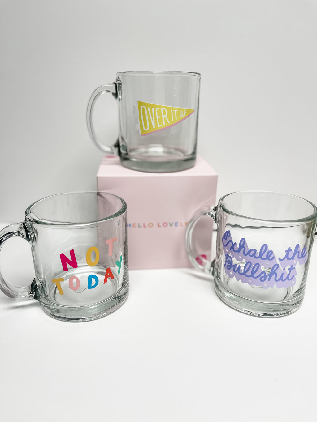 Printed Glass Coffee Mugs