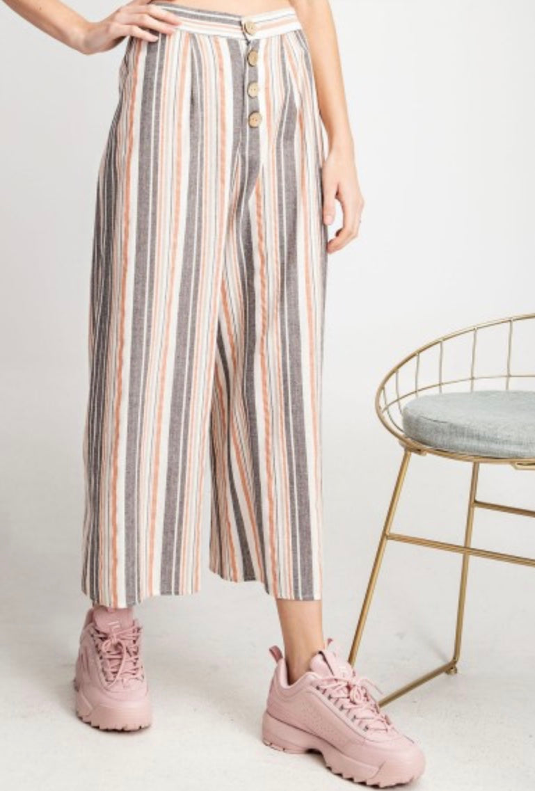 The Nadia Striped Wide Leg Pants - Ash and Coral