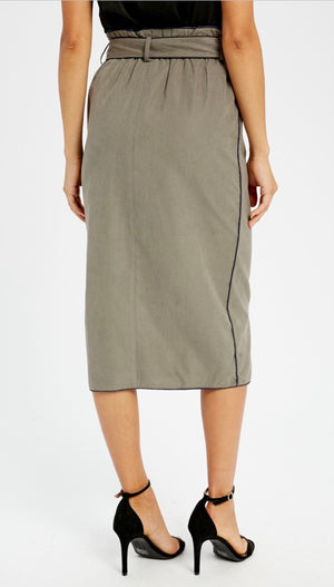 Suede Textured Wrap Midi Skirt - Olive