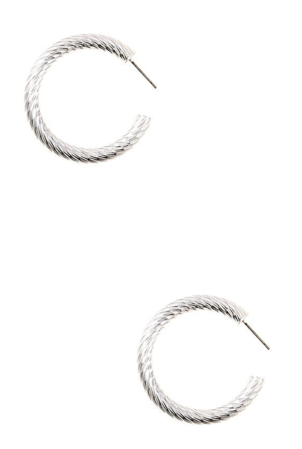 Etched Line Thick Hoop Earrings - Silver
